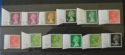 1p to 20p Low Value Definitive Singles Cylinder All different U/M