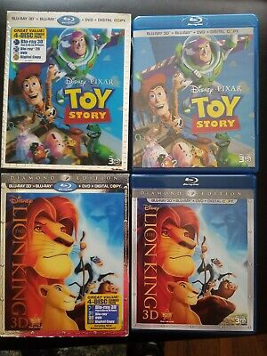 DISNEY Toy Story & Lion King 3D Blu-ray w LENTICULAR SLIPCOVERS MINT DISCS