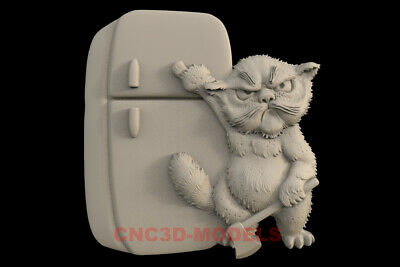 3D STL Models for CNC Router Carving Artcam Aspire Cat Animal Pano IS83