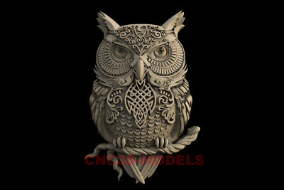 3D STL Models for CNC Router Engraver Carving Artcam Aspire Owl Animal IS119