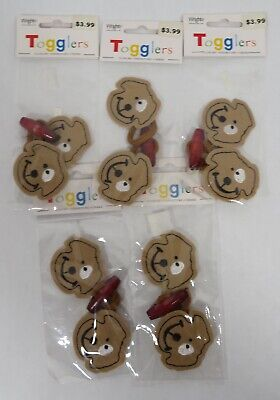 5 Packages Of 2 Wrights Togglers Felt Dog Toggle Closures Children NEW