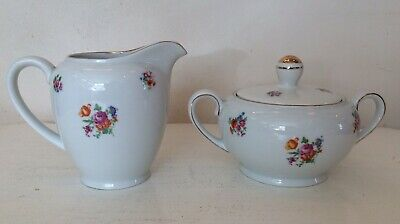 Bavaria Vintage Milk Cream Jug & Sugar Bowl With Lid By Johann Seltmann Floral