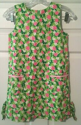 Lilly Pulitzer Womens Green/Pink Floral Dress-Size 8-Cotton-Front Pockets-Lined
