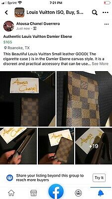 Authentic Louis Vuitton Damier Ebene Cigarrette /lipstick/ feminine product cas