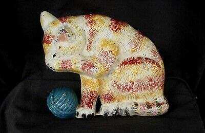 DOORSTOP CAST IRON CAT LICKING ITS PAW 4 1/2 POUNDS PAINTED w BLUE YARN BALL