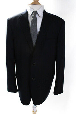 Hart Schaffner Marx Mens Two Button Notched Lapel Blazer Navy Blue Wool Size 46