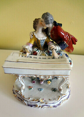 Antique German or Austrian Courting Couple in Love Musicians Porcelain Figurine