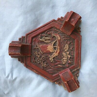 Chinese Hand Carved 1900's Antique Wood Decorative Piece Red