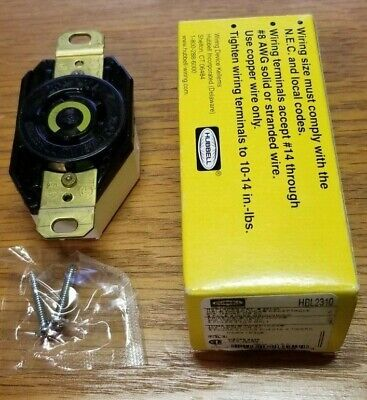 New Hubbell Hbl2310 125V Ac Or Dc 20A 2-Pole 3-Wire Twist-Lock Receptacle
