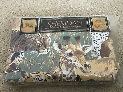 NEW Vintage Retro Sheridan 70s Polyester/Cotton QUEEN bed sheet  Set safari
