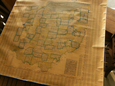 Antique 1940,  Map of Ohio, Hand Colored 50 by 47