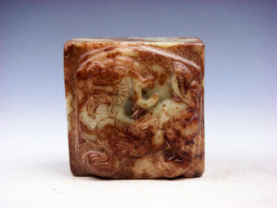 Old Nephrite Jade Stone Carved Seal Paperweight Foo Dog Lion #03282005