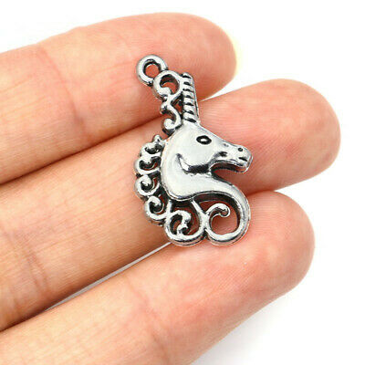 8pcs Antique Silver Unicorn Charms Tone Pendant Bead Jewelry Making 26x15mm