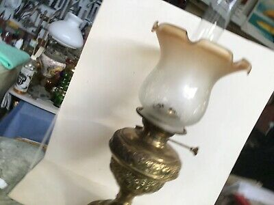 Vintage oil lamp brass press with etched shade
