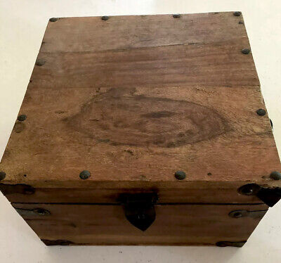 Medium Square Wooden Chest Box With Handles. Made India. Approx 26c X 26cm