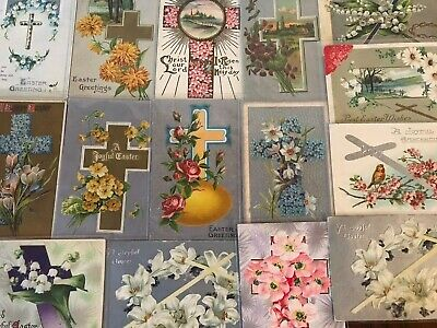 "LOT of 15 BEAUTIFUL Antique~"" EASTER CROSSES"" with Flowers CROSS POSTCARDS-s-44"