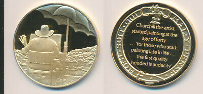Great Britain: Churchill Painting as Pastime 25.6g Gilt Sterling Silver Medal