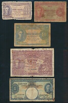 """Malaya: 1941-45 1 Cent to $1000 """"COLLECTION OF 16 DIFFERENT NOTES"""". Pick 6-M10b"""