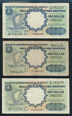 "Malaya & British Borneo: 1959 $1 SET 3 PREFIXES WITH LUCKY NO ""111"". P8a & 8A"