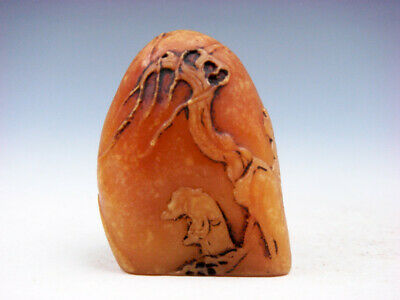 Vintage Stone Carved Mountain Shaped Paperweight Scenery & Figurine #01092008