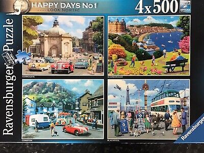 Ravensburger 4x 500 Piece Jigsaw Puzzle. Happy Days No 1 Look North. Complete