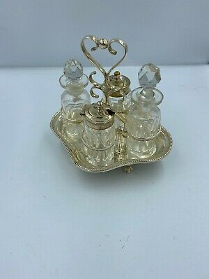 Silver Plated Antique Cruet Set In Stand