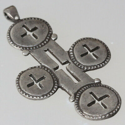 Unique-Ancient Byzantine Christian Silver Cross Pendant Ca 500-700 Ad