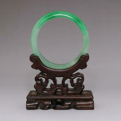 Perfect Rare Chinese Carved Natural Jadeite Bracelet Bangle 6.1Cm (E156)