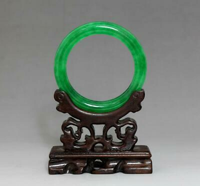 Perfect Rare Chinese Carved Natural Jadeite Bracelet Bangle 6Cm (K8)