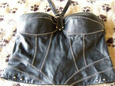 Harley Davidson Womens Sz 4 Leather halter top Vest Corset Black Bustier