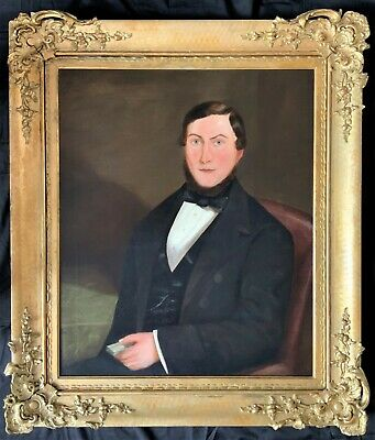 LARGE FAB ORIGINAL SIGNED EARLY 19thc OIL PORTRAIT PAINTING OF A HANDSOME GENT