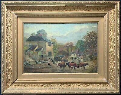 ORIGINAL 19thc ANTIQUE CONTINENTAL COUNTRY FARMYARD LANDSCAPE OIL PAINTING C1888