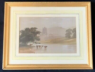 Early 20thc - English School - Watercolour / Gouache Painting - Cattle & Church