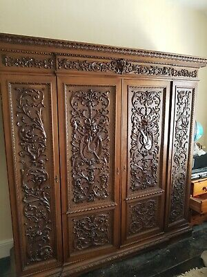 Intricately Carved Double Wardrobe