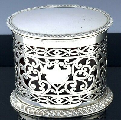 Superb1899 Victorian Sterling Silver Cranberry Glass Honey Jam Pot Tea Caddy Jar