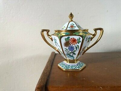 Pickard Hand Painted Antique Chinese Enamel Footed Covered Sugar