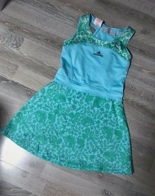 Stella McCartney Adidas Barricade Girls Tennis Dress Green Blue Floral
