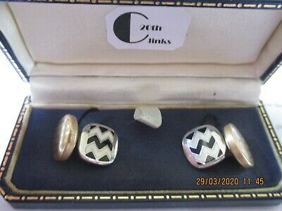 Antique Art Deco Vintage Geometric Enamel Gilt Stratton Expanda Cufflinks