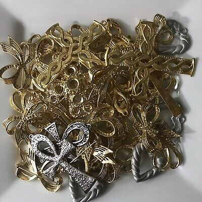 30+ Pieces Lot Findings, Blanks, Jewelry Making supplies, Bow Cross