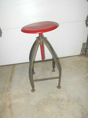 Vintage Metal Bar Or Garage Stool With Red Seat--- Nice and Sturdy