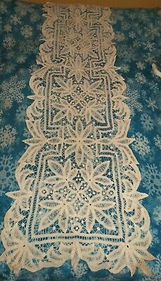 Vintage Floral Table runner 18X64  Italian Bobbin Lace Hand made