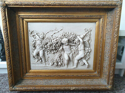 Very large antique 1892 F. G. signed marbe / alabaster relief panel,coin, plaque