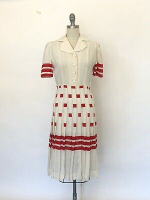 Vintage 1930s Dress 1940s Dress Puffed Sleeve Red WWII 30s 40s