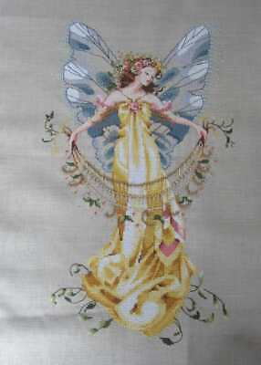 Completed Cross stitch picture, Mirabilia fairy, MD 41, Garden Fairy. Unframed