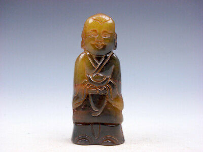 Old Nephrite Jade Stone Carved Sculpture Boy Holds Ingot Yuan-Bao #11281902