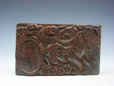 Vintage Nephrite Jade Stone Ink Slab Shaped Paperweight Horse & Coins #08191918