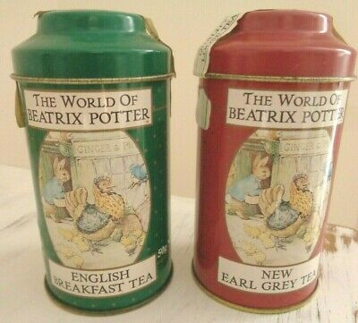 2 Vintage Peter Rabbit - The World of Beatrix Potter Tea Canister Tins 50g ea