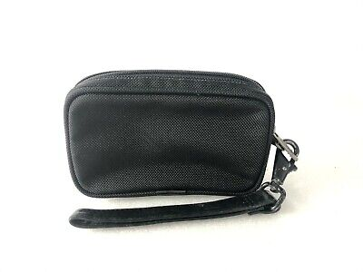 TUMI Small Black Zip Top Nylon Pouch Soft Travel Case Window ID Bag w/Wristlet