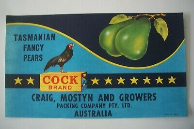 Vintage Apple Box Label Pear Cock Fancy  Tasmania Australia