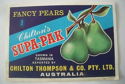 Vintage Apple Box Label Pear Chilton's Supa-Pak  Thompson Tasmania Australia